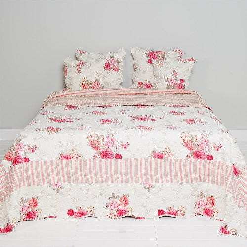 Bedspread With Pink Flowers, 180cm x 260cm