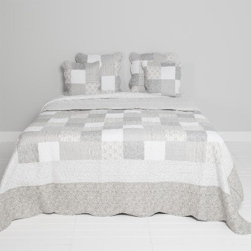 Bedspread, Grey/Taupe Patchwork, 180cm x 260cm