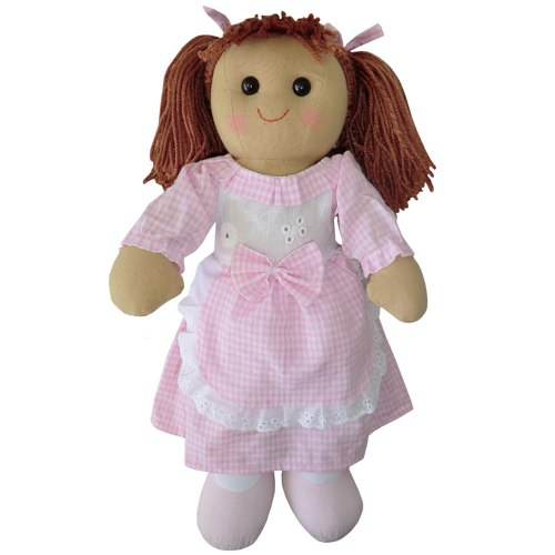 Rag Doll With Pink Gingham Dress & Apron