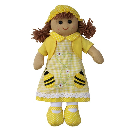 Rag Doll With Yellow Bumble Bee Dress, 40cm