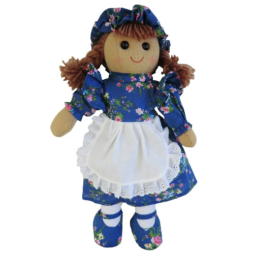 Rag Doll With Dark Blue Floral Dress & Pinny, 40cm