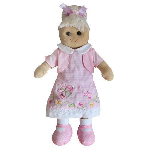 Rag Doll With Pink Butterfly Dress, 40cm