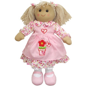 Rag Doll With Pink Dress & Flower Pot Pinny