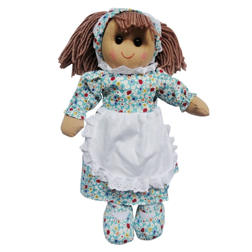 Rag Doll With Blue Floral Dress & Pinny, 40cm