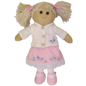 Rag Doll With Pink Dress & White Cardigan