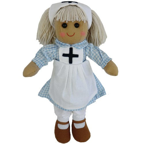 Rag Doll With Nurse's Uniform, 40cm