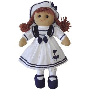 Rag Doll With Blue & White Sailor Dress, 40cm