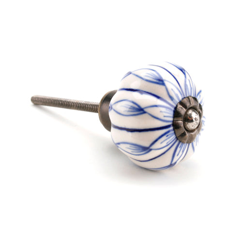 Blue & White Ribbon Drawer Knob
