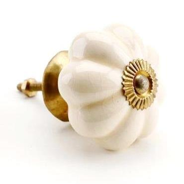 Ceramic Drawer Knob, Cream/Brass