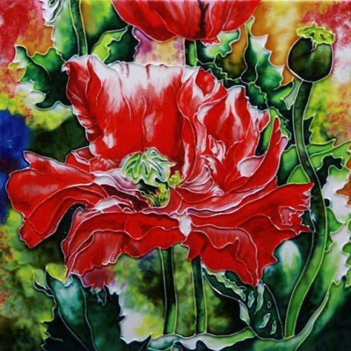 "Benaya Art Ceramic Tiles 'Red Poppies', 12"" x 12"""