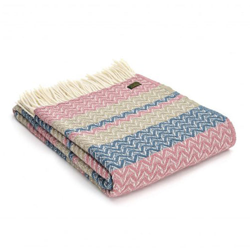 Tweedmill Lifestyle Ripple Throw, Dusky Pink/Oatmeal