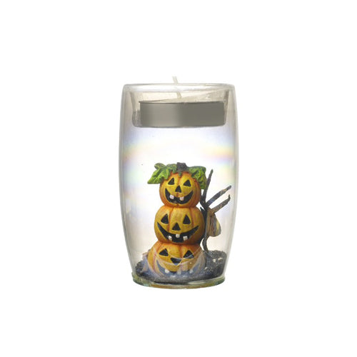 Glass Tall Halloween Tealight Holder, 5.5cm x 9cm