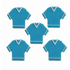 Edible Football Shirt Sugarcraft Cake Toppers, Set Of 6, Blue