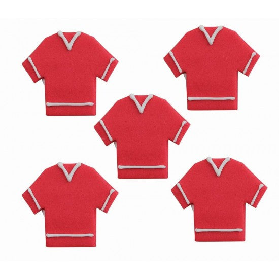 Edible Football Shirt Sugarcraft Cake Toppers, Set Of 6, Red