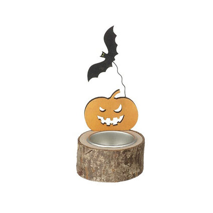 Halloween Pumpkin With Bat Tealight Holder, 7cm x 10cm