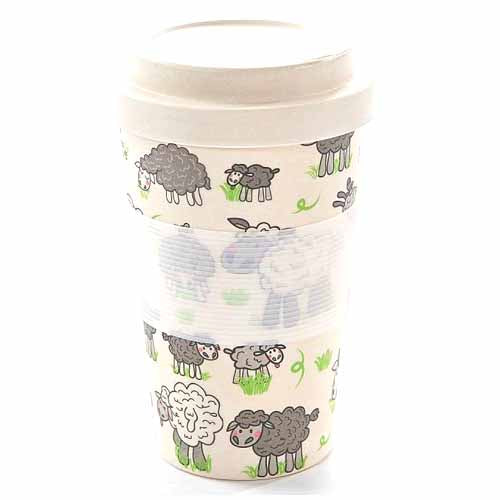 ECO CHIC BAMBOO REUSABLE COFFEE CUP, SHEEP