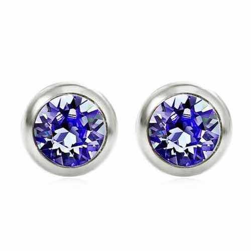 Swarovski Birthstone Stud Earrings, September/Sapphire