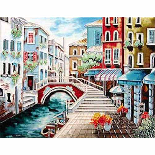 "Benaya Art Ceramic Tiles 'Streets Of Venice', 12"" x 12"""