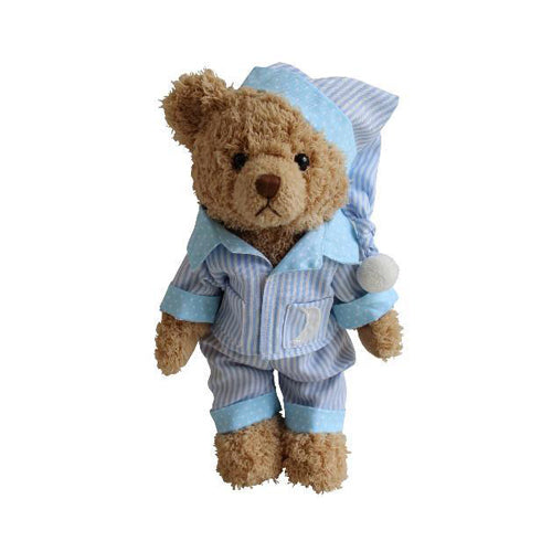 Teddy Bear With Blue Striped Pyjamas & Night Cap
