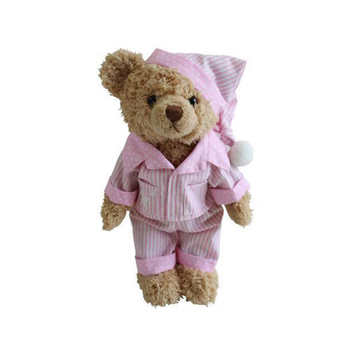 Teddy Bear With Pink Striped Pyjamas & Night Cap