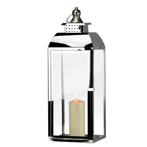 TIFFANY CHROME LANTERN, 65CM