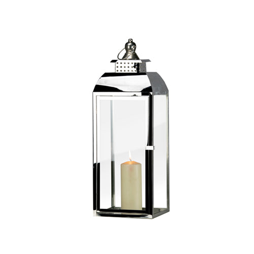 TIFFANY CHROME LANTERN, 53CM