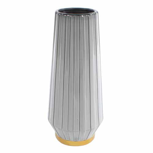 MILANO CERAMIC VASE, 41CM, GREY/GOLD**DUE MARCH**