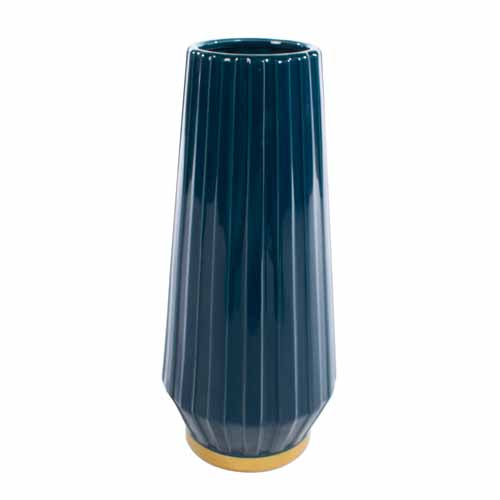 MILANO CERAMIC VASE, 41CM, BLUE/GOLD**DUE MARCH**
