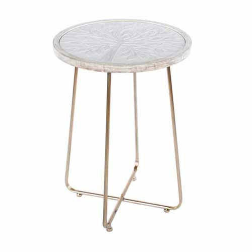 TREE PATTERN ACCENT TABLE, WHITE/CHAMPAGNE**DUE MARCH**