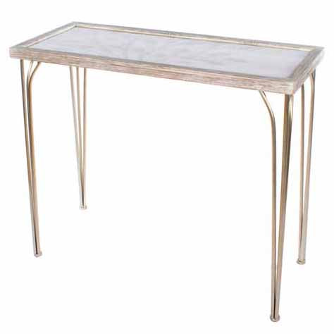 TREE PATTERN CONSOLE TABLE, WHITE/CHAMPAGNE**DUE MARCH**