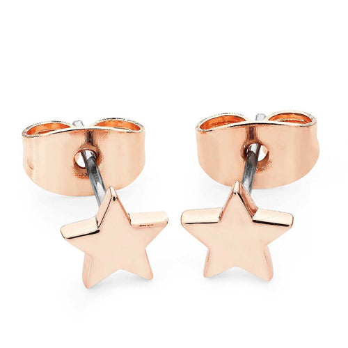 TIPPERARY CRYSTAL Star Mini Stud Earrings Rose Gold