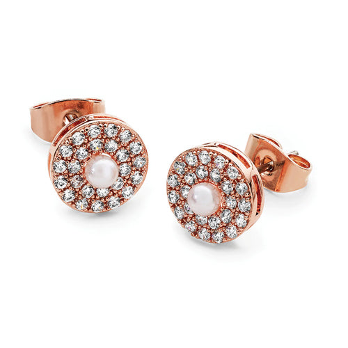 TIPPERARY CRYSTAL Rose Gold Pave Circle With Pearl Centre Earrings