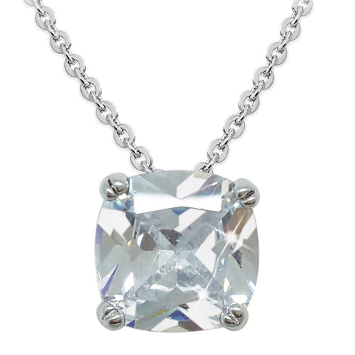 TIPPERARY CRYSTAL Silver Square Drop Pendant With Clear Stone