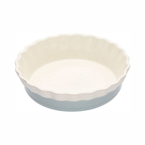 Classic Collection Round Fluted Stoneware Pie Dish, Blue, 20cm