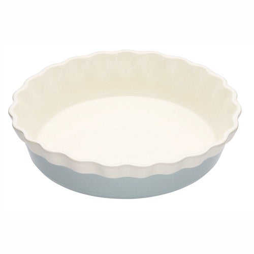 Classic Collection Round Fluted Stoneware Pie Dish, Blue, 26cm
