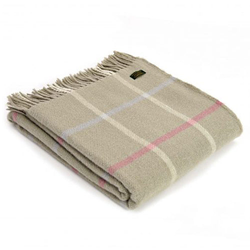 Tweedmill Lifestyle Windowpane Throw, Putty