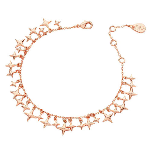 TIPPERARY CRYSTAL Star Rose Gold Charm Bracelet