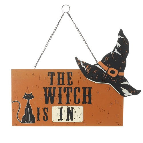 Halloween Witch Is In/Out Sign, 30cm x 21cm