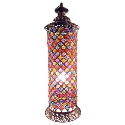 Jasmine Round Multi-Coloured Lamp, Bronze, 66cm