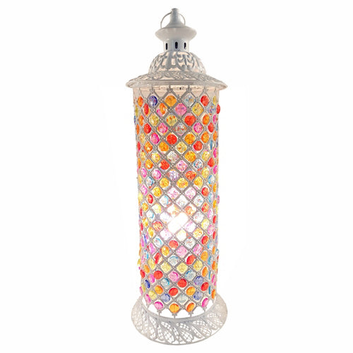 Jasmine Round Multi-Coloured Lamp, white, 66cm