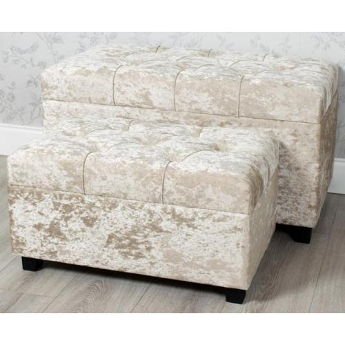 Crushed Velvet Storage Trunk, Beige, Large