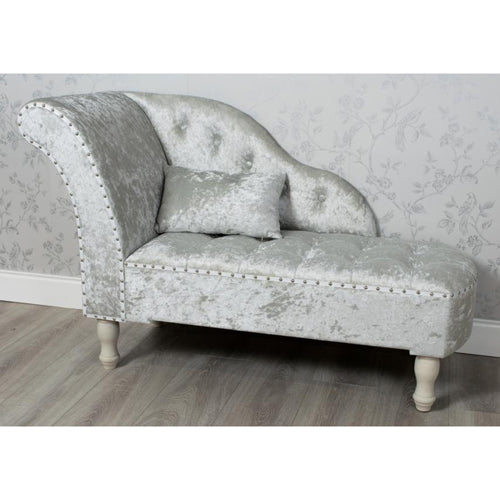 Crushed Velvet Chaise Longue, Grey
