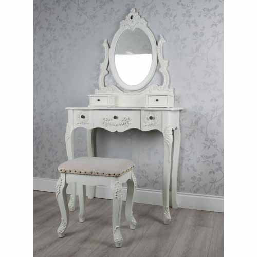 Natalie Dressing Table With Fabric Stool (Z895)