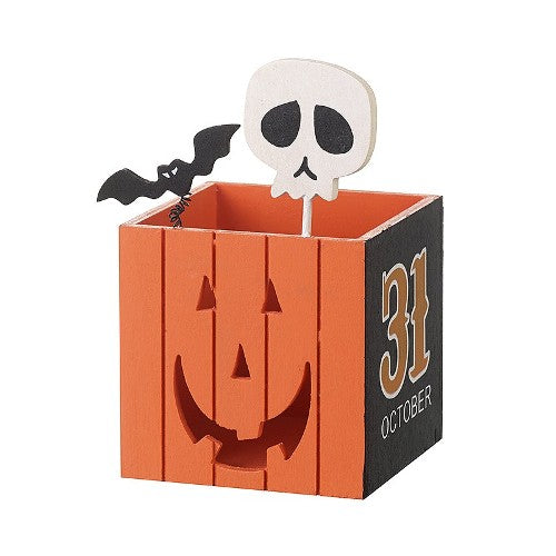Halloween Cut Out Wooden Lantern With Skull, 9cm x 15cm