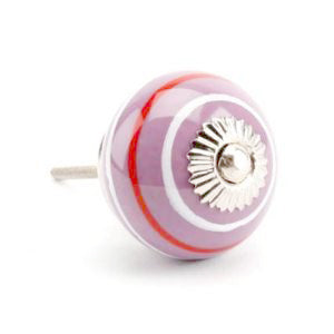 Striped Ceramic Drawer Knob, Purple/Red *