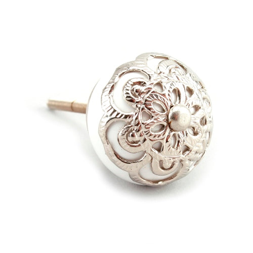 Drawer Knob With Silver Filigree, White