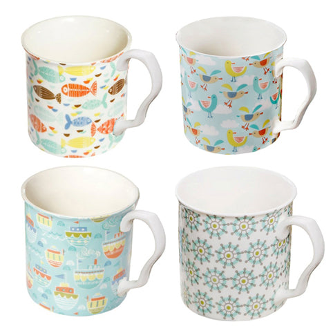 Shannonbridge Pottery Ahoy 4 Piece Mug Gift Set, Assorted