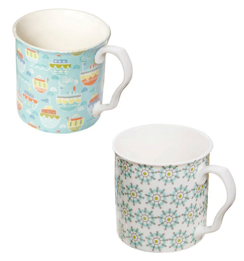 Shannonbridge Pottery Ahoy Mugs, Set Of 2 (a)