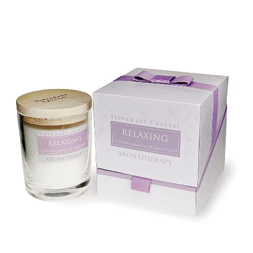 Tipperary Crystal Aromatherapy Candle,  Relaxing, Lavender, Jasmine & Sweet Basil