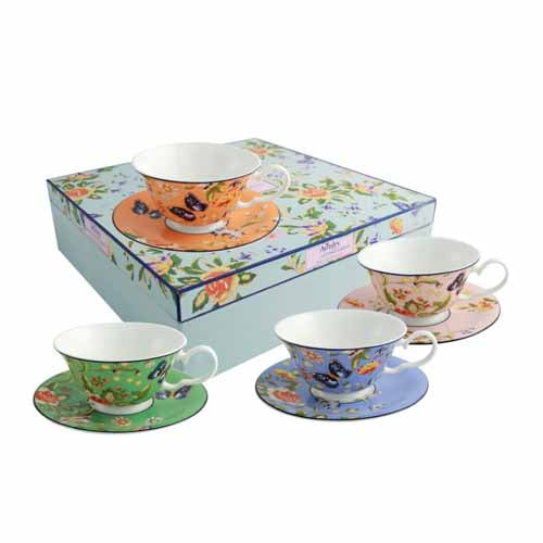 Aynsley Cottage Garden Tea Cups & Saucers, Set Of 4